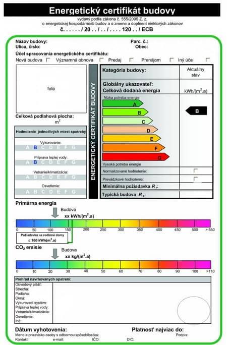 Energetický certifikát je potrebný pri kolaudácii novej alebo významne rekonštruovanej stavby.