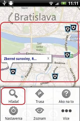 Eko-Trace náhľad aplikácie, ktorá je súčasťou projektu eko-mapa.