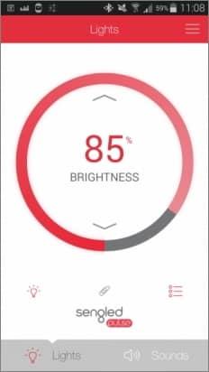 """Náhľad aplikácie pre nastavenie Sengled Pulse žiaroviek - položka v menu """"Lights"""", zdroj: techbox.sk"""